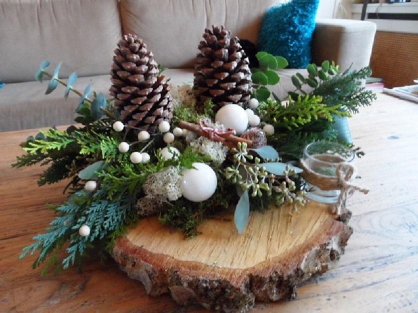 Kerststukjes maken op 19 december 2016 digitaal for Boomschijven decoratie